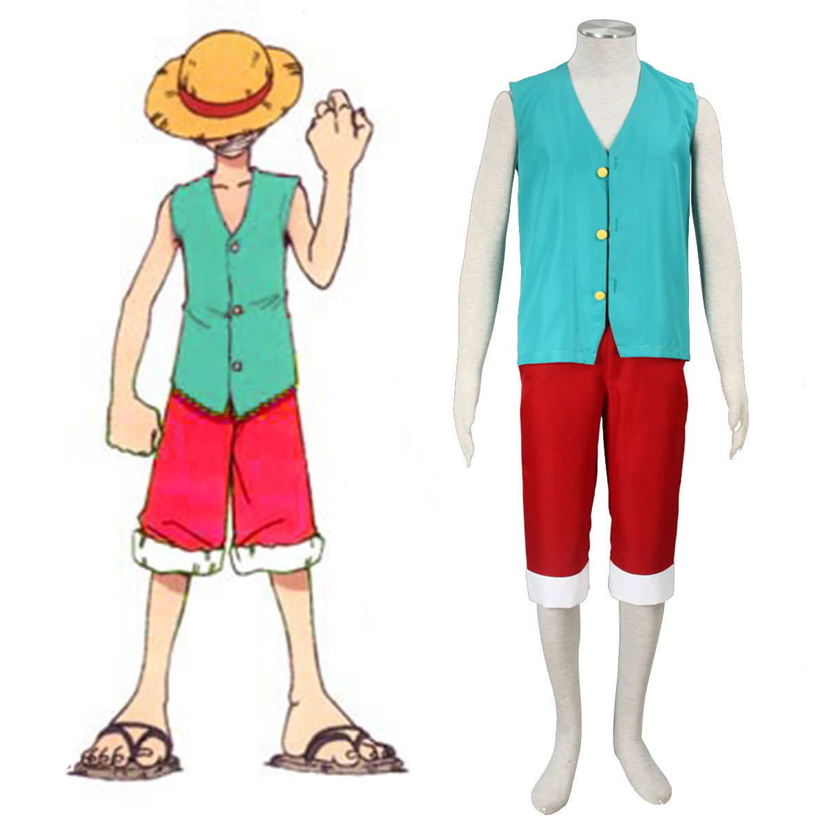 One Piece Monkey D. Luffy 3 Grön Cosplay Kostym Sverige