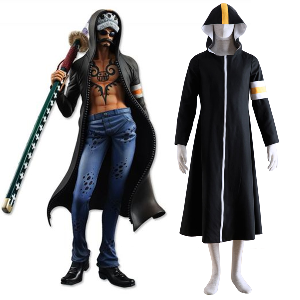One Piece Surgeon of Death Trafalgar Law 1 Cosplay Kostym Sverige