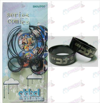 Conan black steel couple rings necklace (rope)