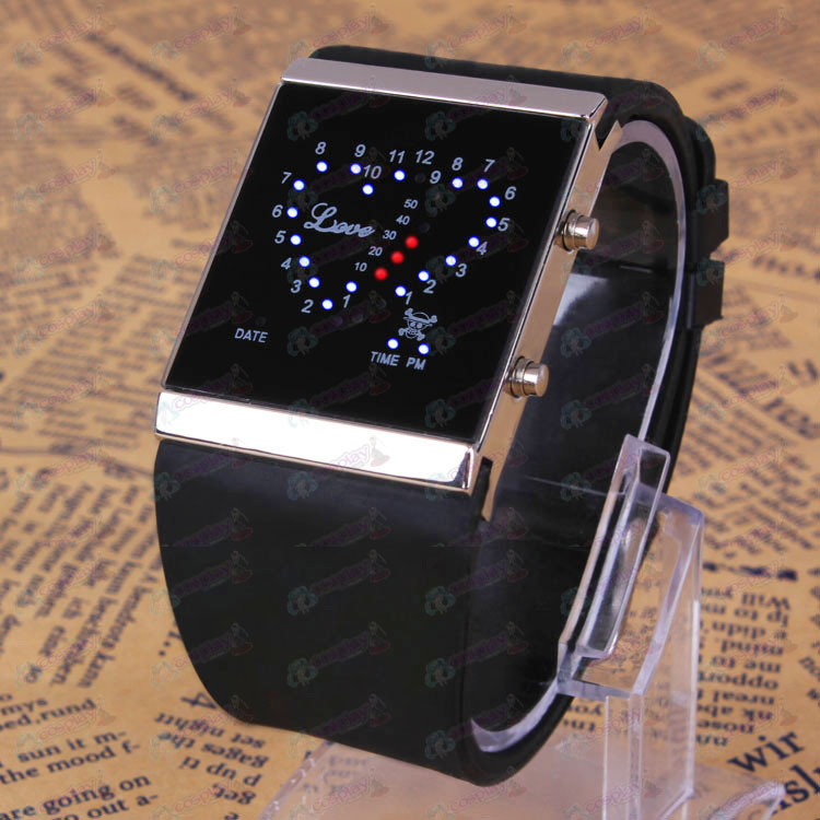 One Piece Accessories Luffy logo black love LED Watch