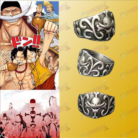 One Piece Accessories White Huzi Hai Pirates Ring card installed