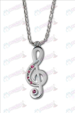 Hatsune - Treble Clef 925 silver with diamond necklace