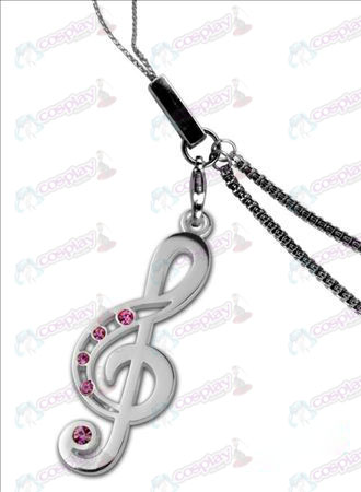 Hatsune - Treble Clef 925 silver with diamond phone chain