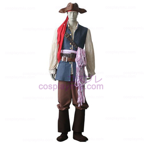 Pirates of the Caribbean Kapten Jack Sparrow Cosplay Kostym