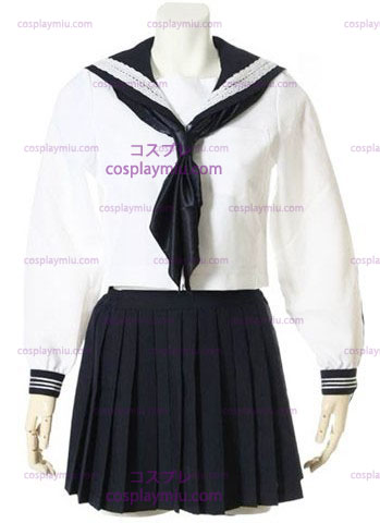 White Long Sleeves Sailor School Uniform Cosplay Costume