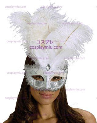 Carnival Mask Big Feather Wt/Sv