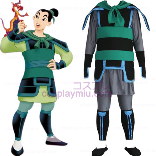 Kingdom Hearts 2 Mulan Män Cosplay Kostym