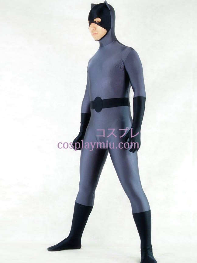 Grey And Black Lycra Spandex Batman Superhero Zentai Suit