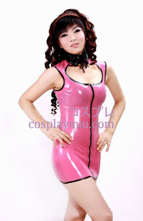 Pink Sexy Mini Sleeveless Latex Dress