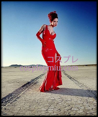 Red Sexy Female Latex Long Dress