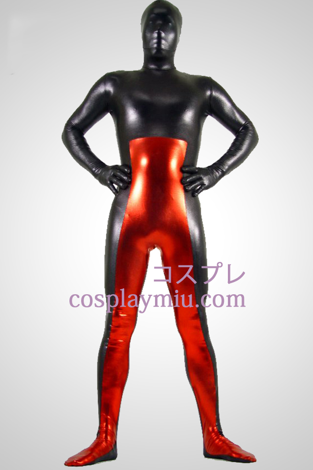 Black And Red Shiny Metallic Zentai Suit
